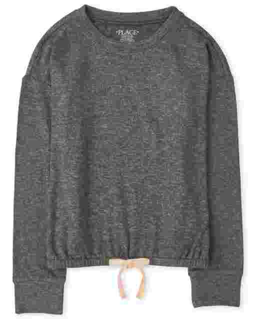 Girls Long Sleeve Cozy Lightweight Sweater Tie Front Pullover