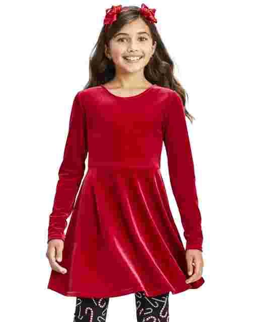 Girls Long Sleeve Velour Bow Back Dress
