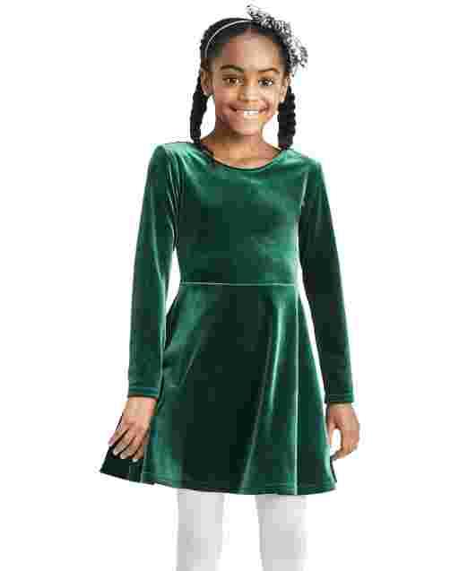 Vestido de niña de manga larga con lazo de terciopelo en la espalda