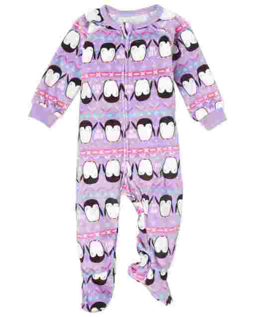 Baby And Toddler Girls Long Sleeve Penguin Fairisle Fleece Footed One Piece Pajamas