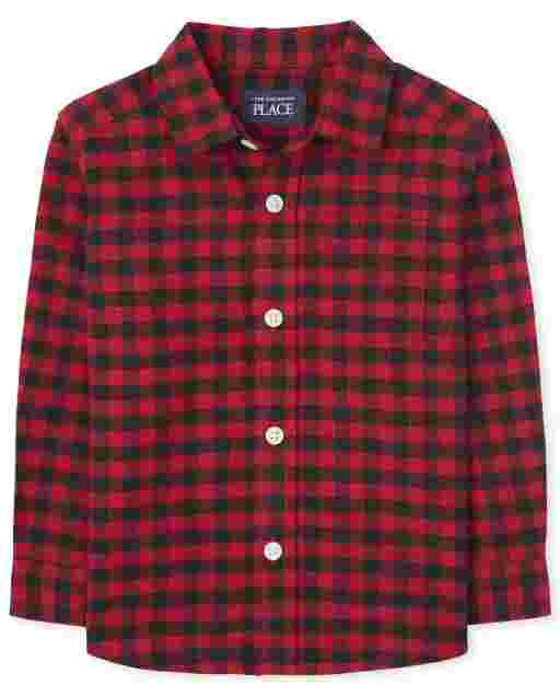 Toddler Boys Matching Family Long Sleeve Buffalo Plaid Oxford Button Down Shirt
