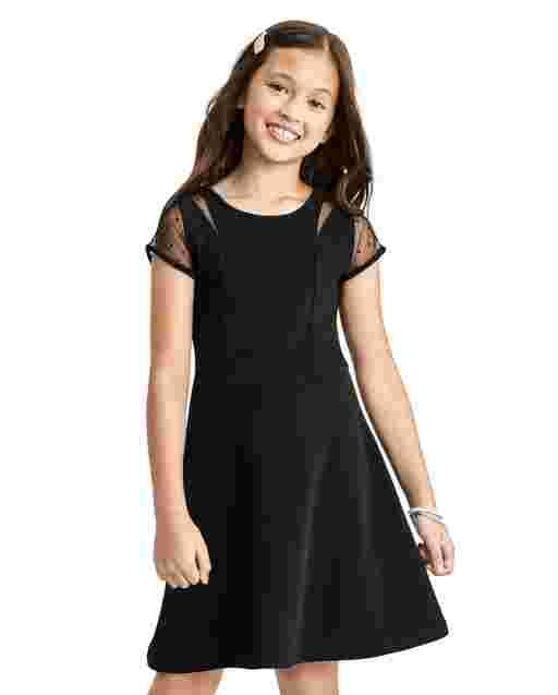 Girls Short Sleeve Mesh Dot Stretch Knit Jacquard Dress