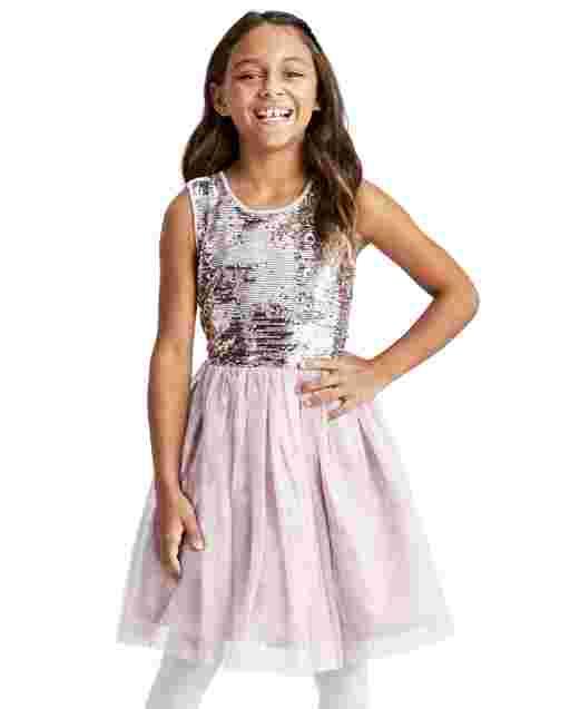Girls Sleeveless Flip Sequin Knit To Woven Tutu Dress