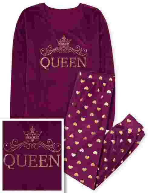 Womens Mommy And Me Long Sleeve 'Queen' Velour Matching Pajamas