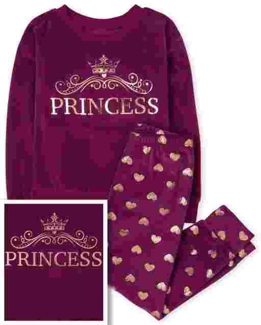 Girls Mommy And Me Long Sleeve 'Princess' Velour Matching Pajamas