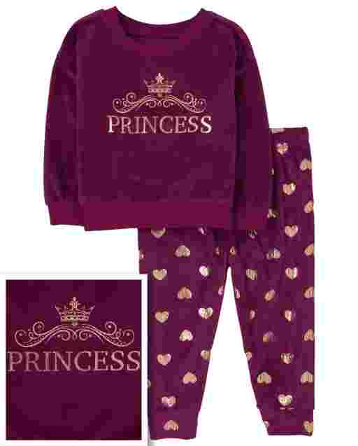 Baby And Toddler Girls Mommy And Me Long Sleeve Princess Velour Matching Pajamas