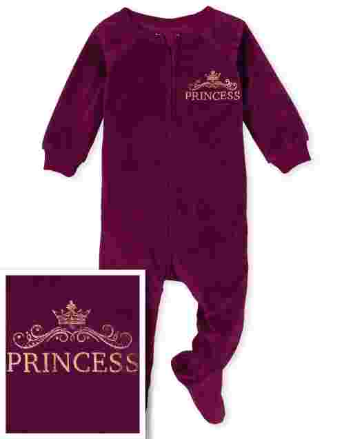 Baby And Toddler Girls Mommy And Me Long Sleeve Princess Velour Matching Fleece One Piece Pajamas