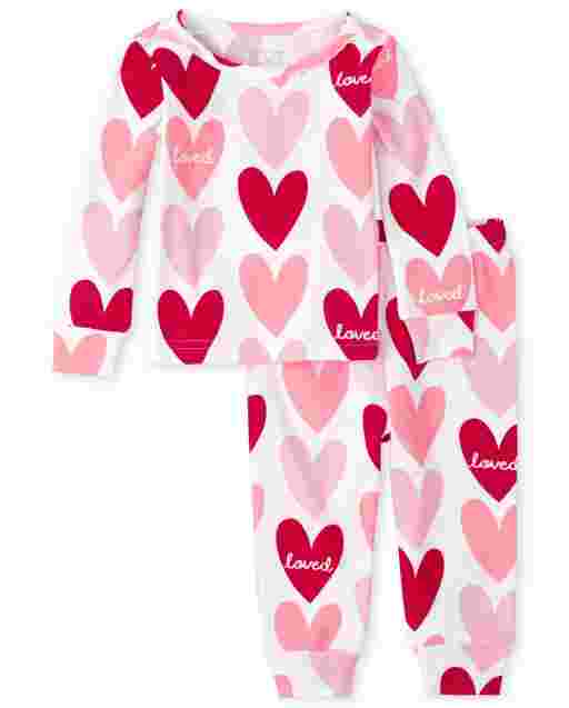 Baby And Toddler Girls Valentine's Day Long Sleeve Heart Print Snug Fit Cotton Pajamas