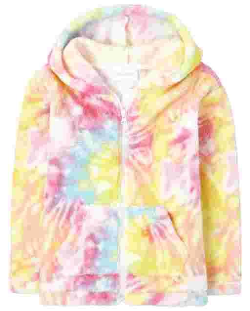 Girls Long Sleeve Rainbow Tie Dye Sherpa Zip Up Hoodie