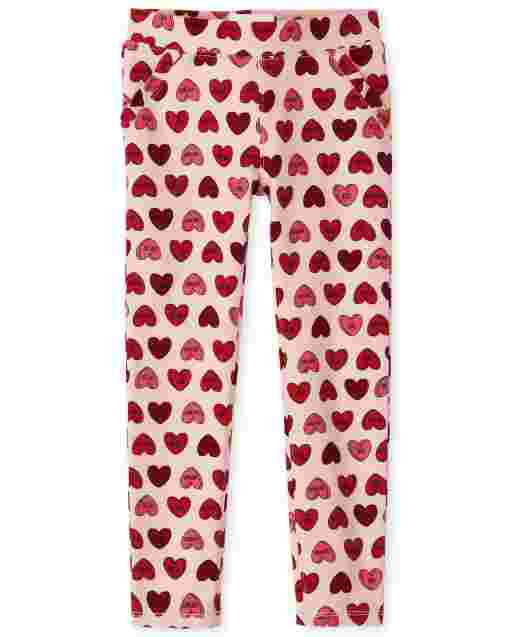 Girls Heart Print Ponte Knit Pull On Jeggings