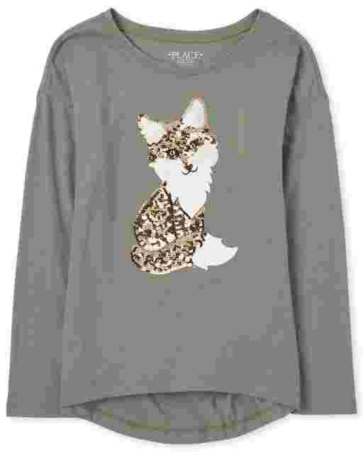 Girls Long Sleeve Faux Fur Fox Graphic High Low Legging Top