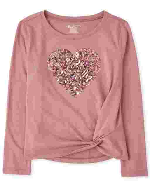 Girls Long Sleeve Sequin Graphic Twist Front Top