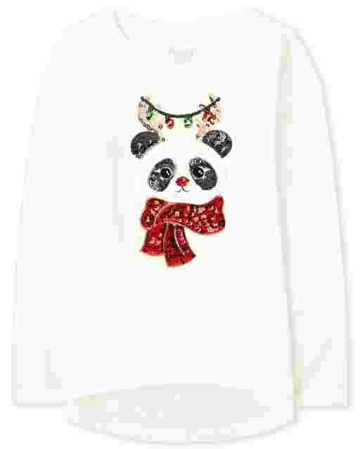 Girls Long Sleeve Faux Fur Christmas Panda Graphic High Low Legging Top