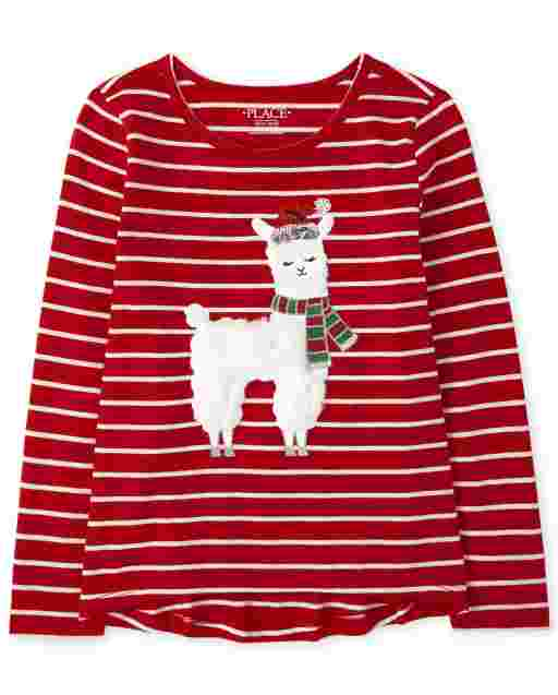 Girls Faux Fur Christmas Llama Striped Top