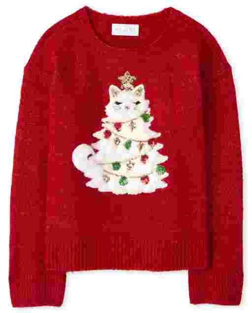 Girls Long Sleeve Embellished Christmas Graphic Sweater