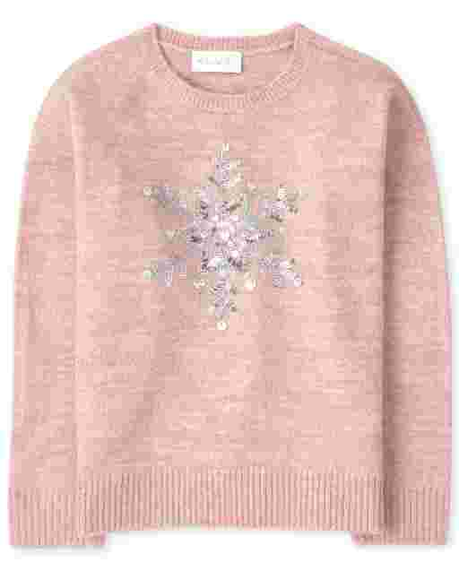 Girls Long Sleeve Intarsia Graphic Sweater