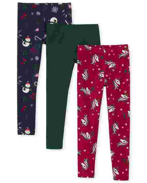 Girls Holiday Print Knit Leggings 3-Pack
