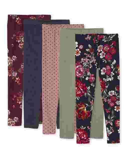 Leggings con estampado floral para niñas, paquete de 5