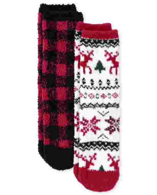 Unisex Kids Buffalo Plaid Cozy Socks 2-Pack