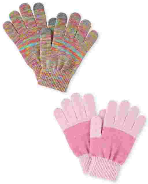 Paquete de 2 guantes para enviar mensajes de texto con tinte espacial para niñas