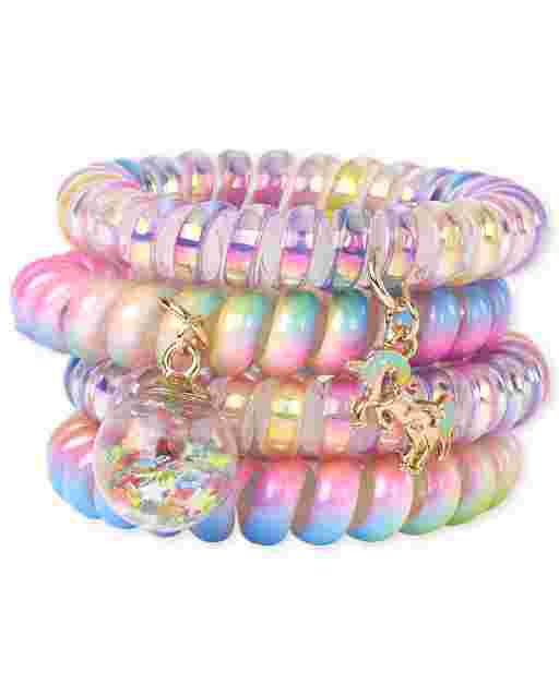 Girls Confetti Shaker Unicorn Coil Bracelet 4-Pack