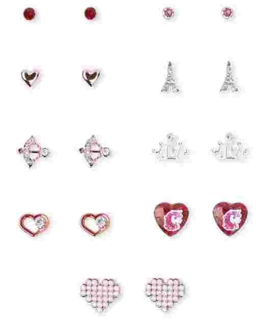 Girls Valentine's Day Heart Earrings 9-Pack