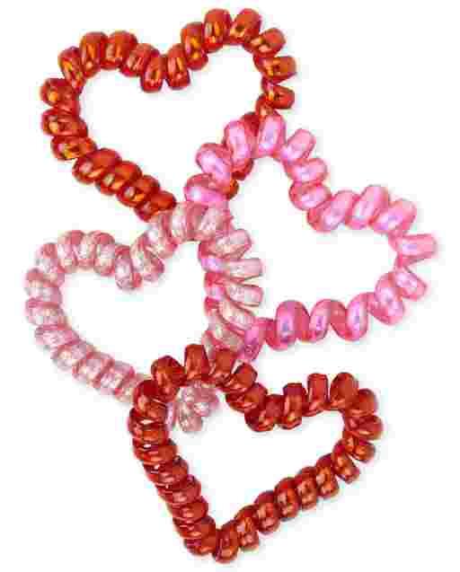 Chicas Valentine ' s del corazón del día de la bobina pulsera 4-Pack