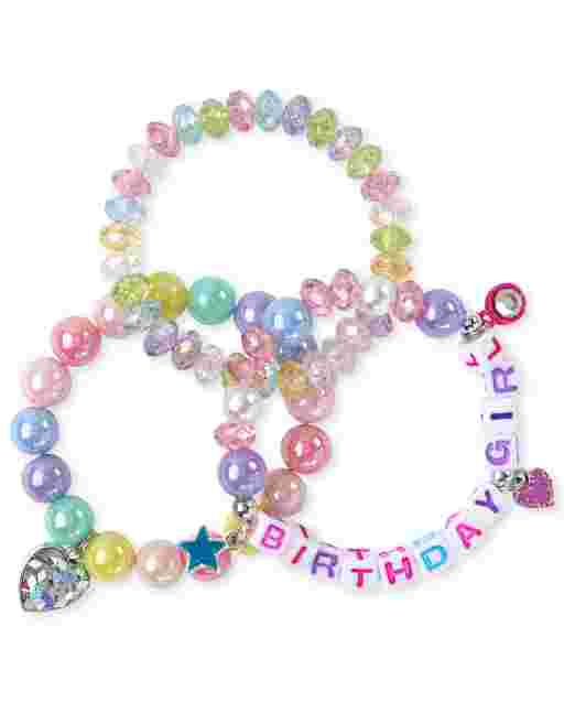 Girls Birthday Beaded Bracelet 3-Pack