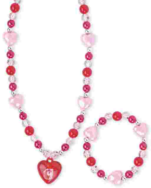 Girls Valentine's Day Heart Beaded Necklace And Bracelet Set
