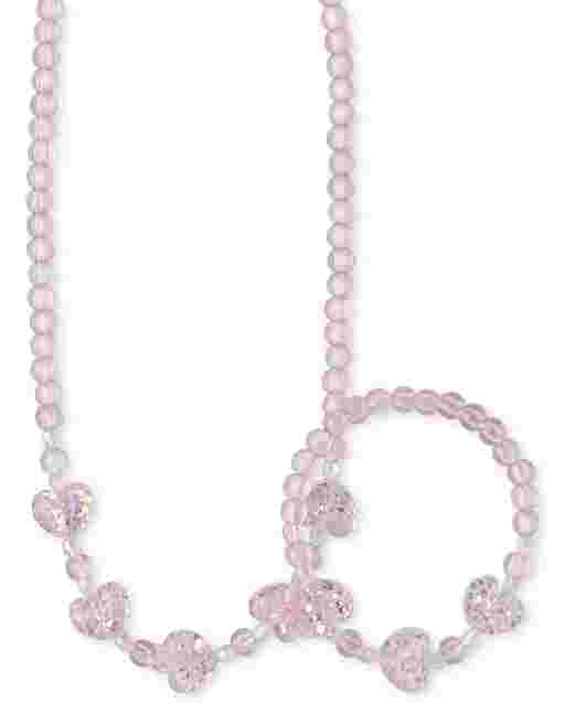 Girls Heart Beaded Necklace And Bracelet Set
