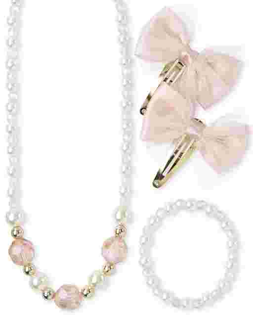 Girls Faux Pearl Necklace Bracelet And Bow Hair Clip 3-Piece Hair And Jewelry Set