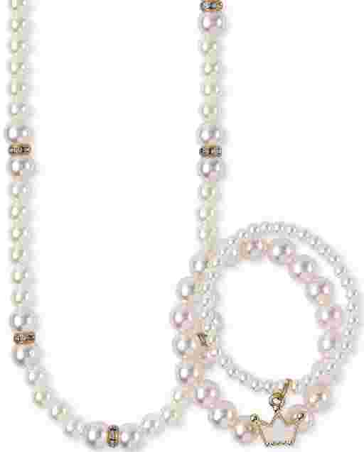 Girls Faux Pearl Beaded Necklace And Bracelet Set