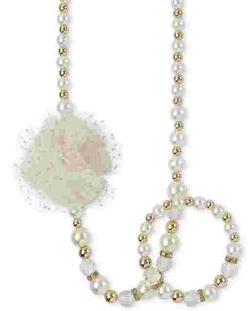 Conjunto de collar y pulsera con cuentas de flores para niñas