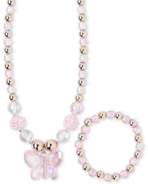 Girls Butterfly Beaded Necklace And Bracelet Set