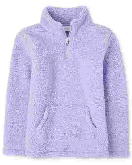 Girls Long Sleeve Sherpa Half Zip Pullover