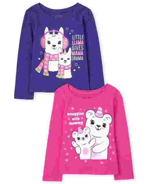 Paquete de 2 camisetas estampadas ' Mom de manga larga para niñas pequeñas