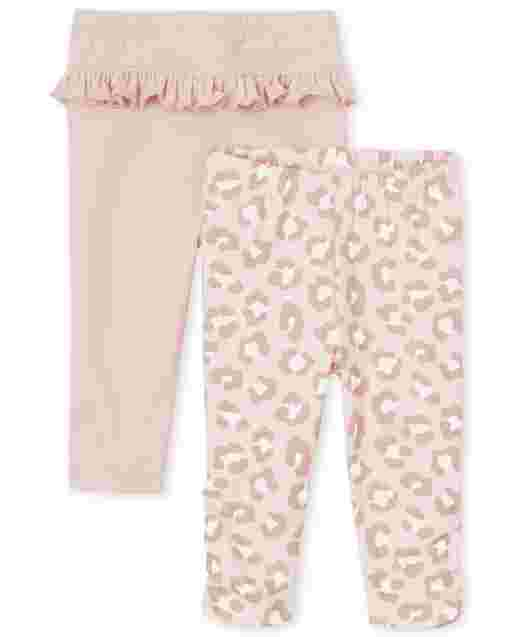 Baby Girls Leopard And Ruffle Knit Pants 2-Pack