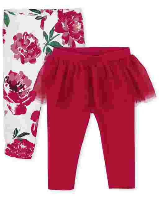 Baby Girls Floral And Tutu Skirt Knit Pants 2-Pack