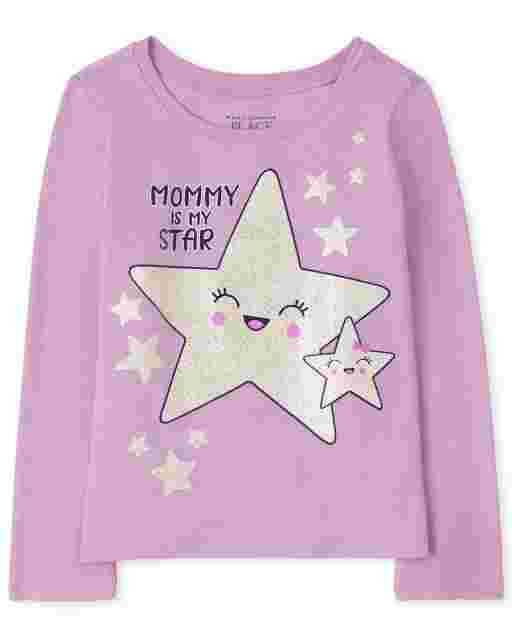 Baby And Toddler Girls Long Sleeve 'Mommy Is My Star' Graphic Tee