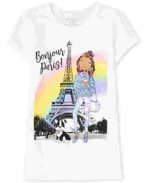 Girls Short Sleeve 'Bonjour Paris' Eiffel Tower Graphic Tee