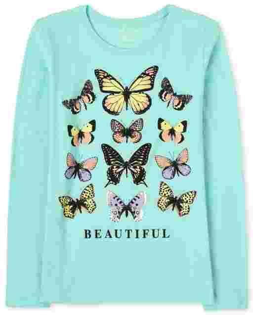 Camiseta con estampado de mariposas para niñas