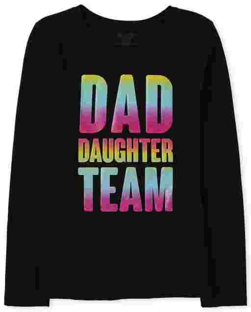 Camiseta estampada para niñas, papá e hija