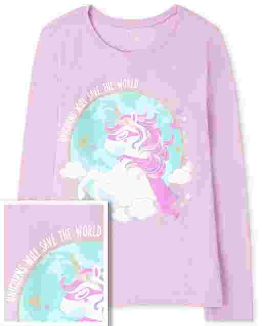 Camiseta estampada de superhéroe unicornio para niñas