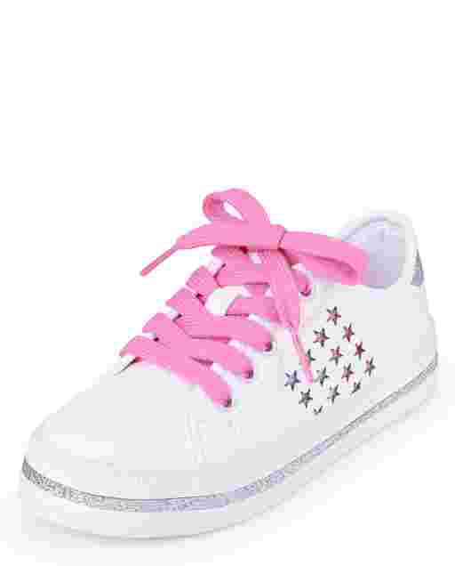 Girls Glitter Rainbow Stars Faux Leather Low Top Sneakers
