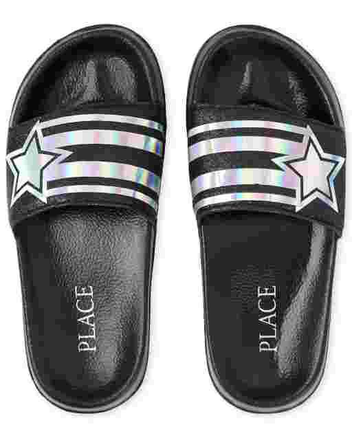 Girls Holographic Star Slides