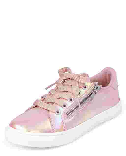 Girls Shimmer Zip Faux Leather Low Top Sneakers