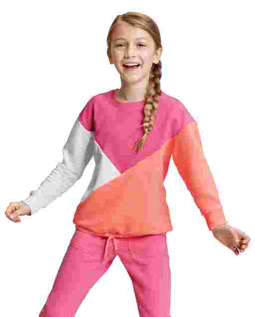 Girls Active Long Sleeve Colorblock French Terry Tie Front Top