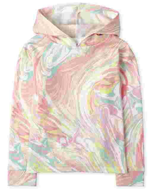 Girls Active Long Sleeve Print Fleece Hoodie Top