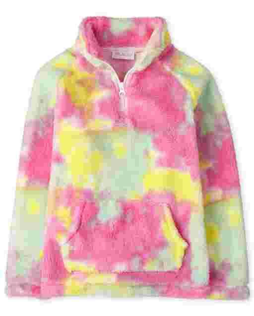 Jersey para niñas con cuello simulado y media cremallera de sherpa con efecto tie dye