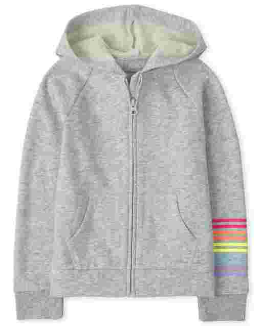 Girls Rainbow Fleece Zip Up Hoodie